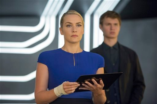 "This photo provided by Lionsgate shows, Kate Winslet, left, as Jeanine, and Ansel Elgort, as Caleb, in a scene from the film, ""The Divergent Series: Insurgent."" The movie opens in U.S. theaters Friday, March 20, 2015. (AP Photo/Lionsgate, Andrew Cooper)"