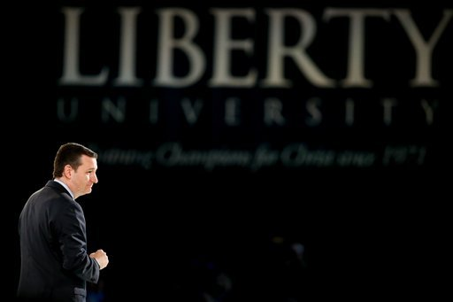 Sen. Ted Cruz, R-Texas announces his campaign for president, Monday, March 23, 2015, at Liberty University, founded by the late Rev. Jerry Falwell, in Lynchburg, Va. Cruz, who announced his candidacy on twitter in the early morning hours, is the first maj