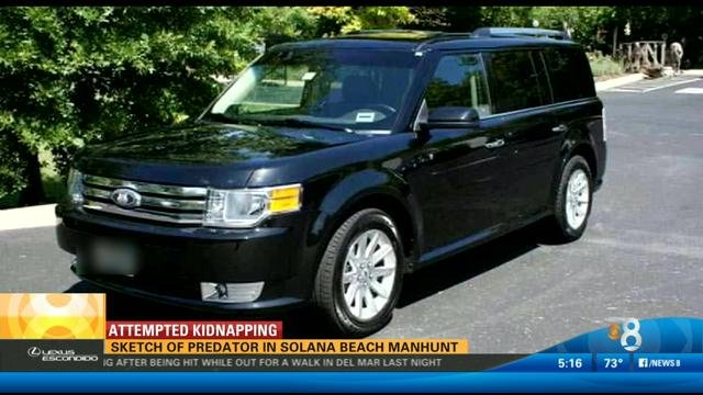 This is a sample image of a car the suspect was possibly driving - a boxy black and silver Ford Flex.