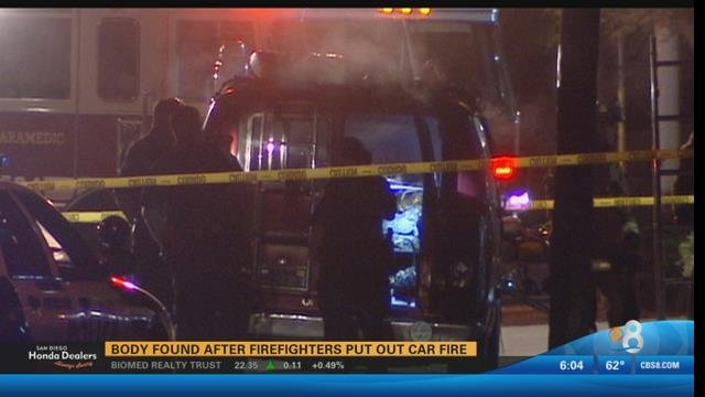 An officer sent to the 2200 block of Tidelands Avenue near Bay Marina Drive spotted the body in the fire-engulfed vehicle shortly before 10 p.m. Sunday, a National City police dispatcher said.