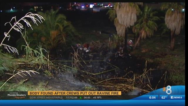 Chula Vista firefighters found the body of a man when they put out a brush fire in a ravine behind a retail center Sunday, according to a lieutenant.