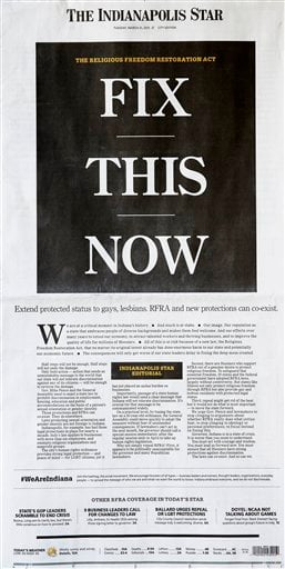 In this photo is the front page of The Indianapolis Star on Tuesday, March 31, 2015. (AP Photo/Darron Cummings)