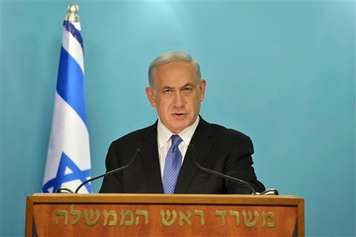 "In this photo released by the Government Press Office, Israeli Prime Minister Benjamin Netanyahu delivers a statement to the press in Jerusalem, Friday, April 3, 2015. Netanyahu said that he and his Cabinet are united in ""strongly opposing"" a framework de"