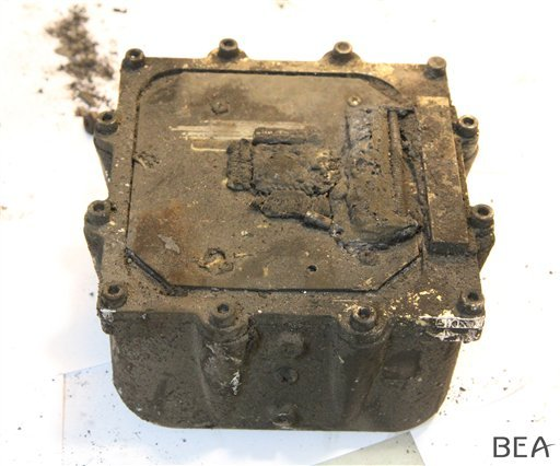 """In this photo provided on Friday, April 3, 2015 by the BEA, the French Air Accident Investigation Agency, shows the """"black box"""" data recorder of the Germanwings jetliner that crashed and killed 150 people in the French Alps. The co-pilot of the doomed Ger"""