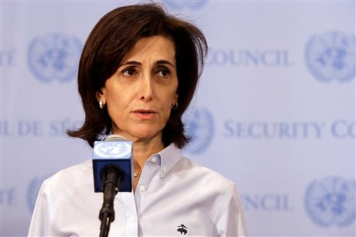 Jordanian Ambassador to the United Nations Dina Kawar speaks to reporters outside a Security Council consultation Saturday, April 4, 2015, at the United Nations headquarters. Saudi Arabia is ready to discuss Russia's proposition to introduce pauses in air