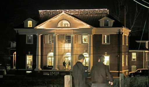 Students participating in rush pass by the Phi Kappa Psi house at the University of Virginia in Charlottesville, Va., in this Jan. 15, 2015 file photo. (AP Photo/Steve Helber, File)