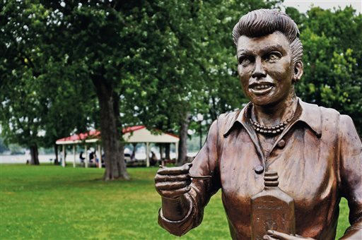In an August 2012 photo, a bronze sculpture of Lucille Ball is displayed in Lucille Ball Memorial Park in the village of Celoron, N.Y., in her hometown.