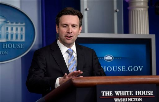 White House press secretary Josh Earnest speaks during the daily briefing at the White House in Washington, Tuesday, April 7, 2015. Earnest answered questions about nuclear negotiation with Iran and a power outage in Washington. (AP Photo/Susan Walsh)