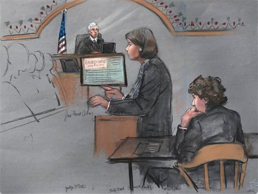 Courtroom sketch: defense attorney Judy Clarke is depicted addressing the jury as defendant Dzhokhar Tsarnaev, right, sits during closing arguments in Tsarnaev's federal death penalty trial April 6, 2015, in Boston. (AP Photo/Jane Flavell Collins)