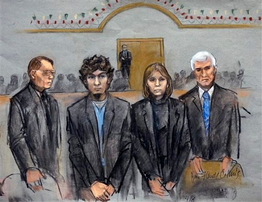 Courtroom Sketch: Dzhokhar Tsarnaev, second from left, is depicted standing with defense attorneys William Fick, left, Judy Clarke, second from right, and David Bruck, right, as the jury presents its verdict April 8, 2015.(AP Photo/Jane Flavell Collins)