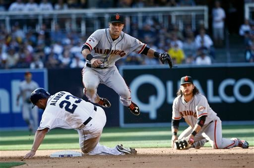 San Francisco Giants second baseman Joe Panik hurdles San Diego Padres' Yonder Alonso while relaying to first to complete a double play in the fifth inning of a baseball game Thursday, April 9, 2015, in San Diego.