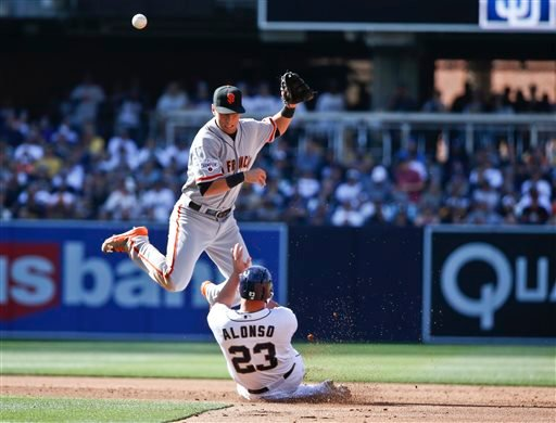 San Francisco Giants second baseman Joe Panik avoids San Diego Padres' Yonder Alonso while relaying to first to complete a double play to end the second inning of a baseball game Thursday, April 9, 2015, in San Diego.