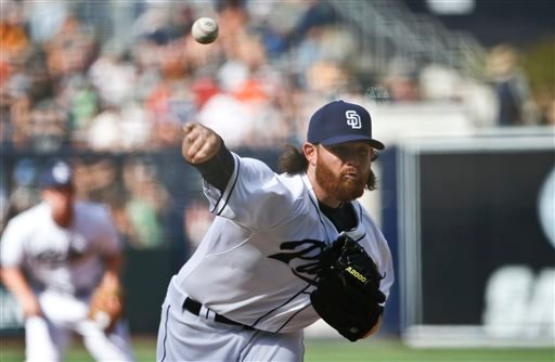 San Diego Padres starting pitcher Ian Kennedy throws against the San Francisco Giants in the first inning of a baseball game Thursday, April 9, 2015, in San Diego.