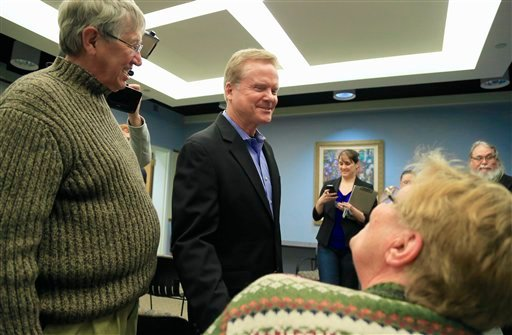 Former Virginia Sen. Jim Webb speaks at an event at the public library in Council Bluffs, Iowa, Thursday, April 9, 2015. Jim Webb and Martin O'Malley are both in Iowa, trying to establish themselves as the alternative to Hillary Rodham Clinton. (AP Photo/
