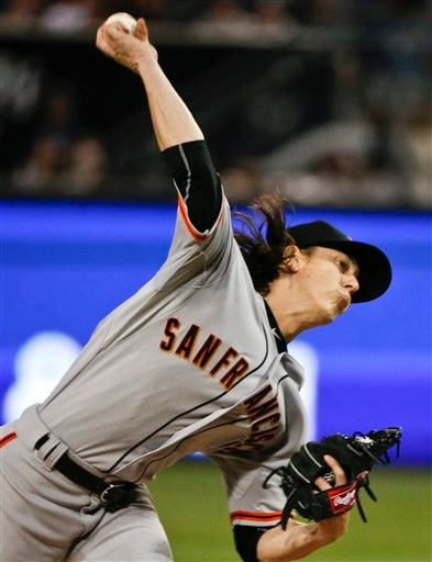 San Francisco Giants starting pitcher Tim Lincecum throws against the San Diego Padres in the first inning of a baseball game Friday, April 10, 2015, in San Diego. (AP Photo/Lenny Ignelzi)