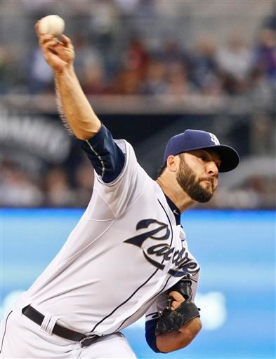 San Diego Padres starting pitcher Brandon Morrow throws against the San Francisco Giants in the first inning of a baseball game Friday, April 10, 2015, in San Diego. (AP Photo/Lenny Ignelzi)