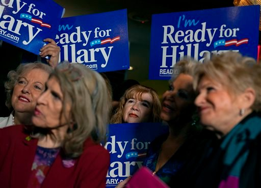Supporters listen to a speech during the Last Hillary Clinton Rally in New York, Saturday, April 11, 2015. (AP Photo/Craig Ruttle)