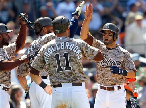 San Diego Padres' Will Nieves, right, reacts at the plate after he hit a grand slam which also brought in Justin Upton, left, Matt Kemp and Will Middlebrooks (11) during the fourth inning of a baseball game against the San Francisco Giants in San Diego, C