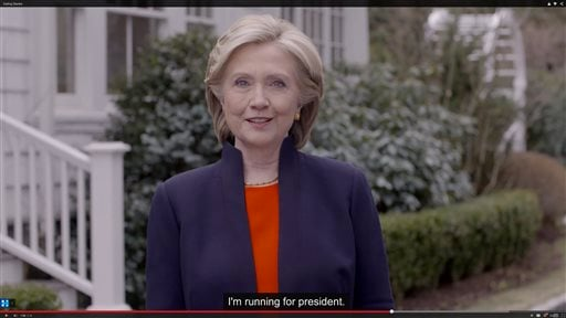 In this image taken from video posted to hillaryclinton.com on Sunday, April 12, 2015, Hillary Rodham Clinton announces her campaign for president. The former secretary of state, senator and first lady enters the race in a strong position to succeed her r