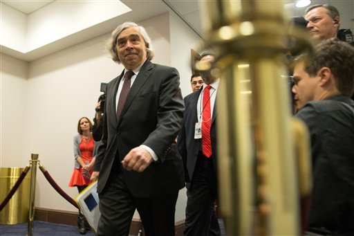 Energy Secretary Ernest Moniz arrives on Capitol Hill in Washington, Tuesday, April 14, 2015, for a meeting of the House Democratic Caucus where Secretary of State John Kerry will ask members of Congress to give the Obama administration more time and room