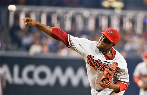 Arizona Diamondbacks starting pitcher Rubby De La Rosa throws against the San Diego Padres during the first inning of a baseball game Monday April 13, 2015, in San Diego. (AP Photo/Lenny Ignelzi)