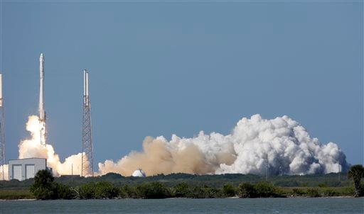 The Falcon 9 SpaceX rocket lifts off from launch at the Cape Canaveral Air Force Station in Cape Canaveral, Fla., Tuesday, April 14, 2015. (AP Photo/John Raoux)