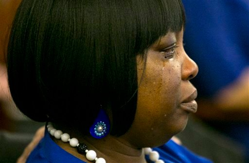 Ursula Ward, mother of the victim, Odin Lloyd, cries as former New England Patriots NFL football player Aaron Hernandez is found guilty verdict during his murder trial.