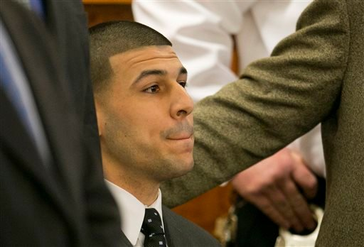Former New England Patriots football player Aaron Hernandez listens as the guilty verdict is read during his murder trial April 15, 2015 at Bristol County Superior Court in Fall River, Mass. (Dominick Reuter/Pool Photo via AP)