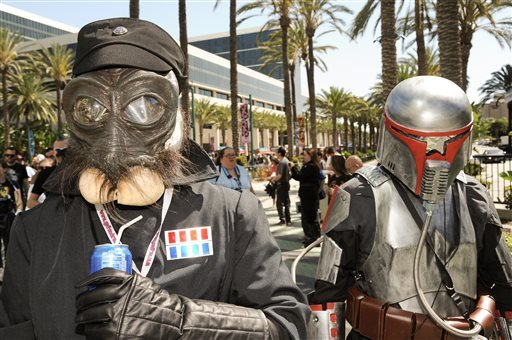 Star Wars fans wait in line to enter Star Wars Celebration: The Ultimate Fan Experience held at the Anaheim Convention Center on Thursday, April 16, 2015, in Anaheim, Calif.