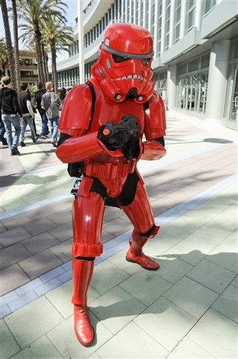 A Star Wars fan dressed as a red stormtrooper attends the Star Wars Celebration: The Ultimate Fan Experience held at the Anaheim Convention Center on Thursday, April 16, 2015, in Anaheim, Calif.