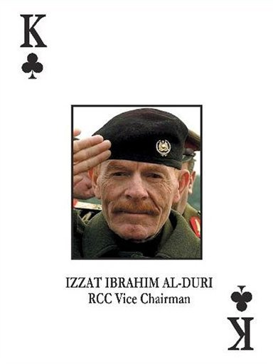 In this photo provided by the U.S. Army on Saturday, Oct. 21, 2006, the most wanted Iraqi fugitive, former Saddam Hussein deputy Izzat Ibrahim al-Douri , is pictured on the deck of cards put out by the U.S. military to help capture most wanted officials o
