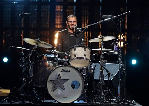 Ringo Starr performs at the Rock and Roll Hall of Fame Induction Ceremony Sunday, April 19, 2015, in Cleveland.