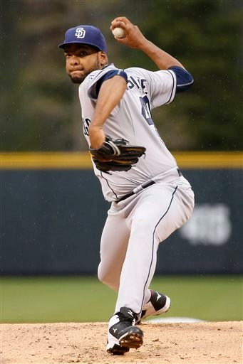 San Diego Padres starting pitcher Odrisamer Despaigne throws against the Colorado Rockies during the first inning of a baseball game Monday, April 20, 2015, in Denver. (AP Photo/Jack Dempsey)