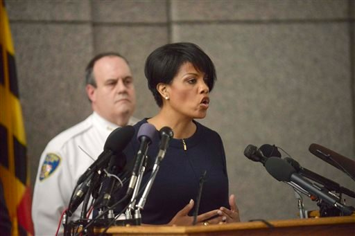 "Mayor Stephanie Rawlings-Blake speaks to the media at a news conference on the death of Freddie Gray in Baltimore, Monday, April 20, 2015. Baltimore's top police officials, mayor and prosecutor sought to calm a ""community on edge"" Monday while investigati"