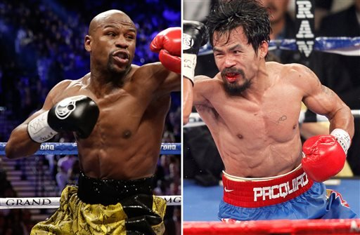 At left, in a May 4, 2013, file photo, Floyd Mayweather Jr. At right, in a Nov. 12, 2011, file photo, Manny Pacquiao.