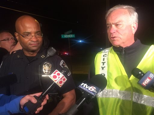 Capt. Charles Hollowell of the Westfield Police Department said Thursday night April 24, 2015 that authorities don't have an exact number of injuries. (AP Photo/Lauryn Schroeder)