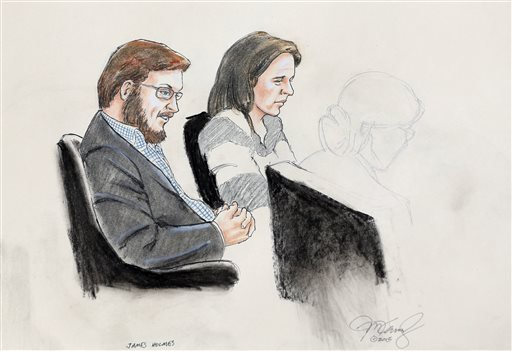 In this Jan. 20, 2015 courtroom file sketch, James Holmes, left, and defense attorney Tamara Brady are depicted, as they sit in court on the first day of jury selection in Holmes' trial, at the Arapahoe County Justice Center, in Centennial, Colo. Jan. 20,