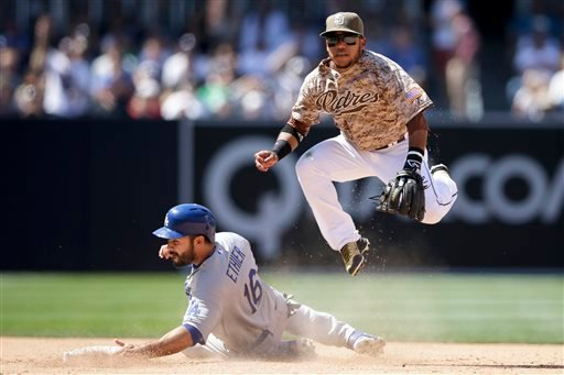San Diego Padres shortstop Alexi Amarista, watches his throw to first for a double play as Los Angeles Dodgers' Andre Ethier slides in late to second, below, during the sixth inning of a baseball game, Sunday, April 26, 2015, in San Diego. The Dodgers' Ad