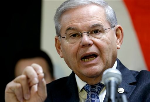 In this Dec. 5, 2014 file photo, Sen. Robert Menendez, D-N.J. speaks in Secaucus, N.J. Senate proponents of a bill empowering Congress to review and potentially reject any Iran nuclear deal must first win a battle with some colleagues determined to change
