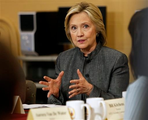 In this Tuesday, April 21, 2015 file photo, Democratic presidential hopeful Hillary Rodham Clinton speaks to students and faculty during a campaign stop at New Hampshire Technical Institute in Concord, N.H. The acting chief executive of the Clinton Found