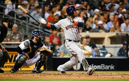 Houston Astros' Luis Valbuena drives in a run with a base hit during a baseball game against the San Diego Padres, Monday, April 27, 2015, in San Diego. (AP Photo/Lenny Ignelzi)
