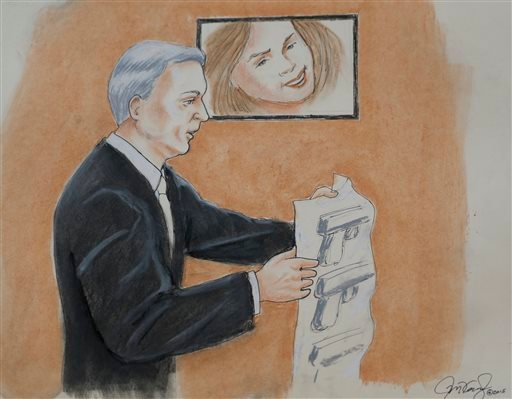 In this Monday, April 27, 2015, sketch by courtroom artist Jeff Kandyba, prosecutor George Brauchler makes a point during the opening day of the trial for Aurora, Colo., theatre shooting suspect James Holmes Monday, April 27, 2015, in Centennial, Colo. Th