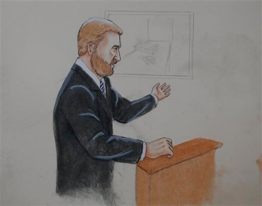 In this Monday, April 27, 2015 sketch by courtroom artist Jeff Kandyba, public defender Daniel King makes a point during the opening day of the trial for Aurora, Colo., theatre shooting suspect James Holmes Monday, April 27, 2015, in Centennial, Colo. The