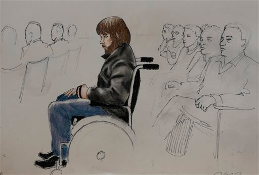 In this Monday, April 27, 2015, sketch by courtroom artist Jeff Kandyba, Caleb Medley, who was shot in the head during the massacre at the theatre in Aurora, Colo., is shown during the opening day of the trial for Aurora, Colo., theatre shooting suspect J