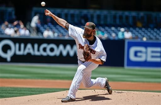San Diego Padres starting pitcher Andrew Cashner works against the Houston Astros in the first inning of a baseball game Wednesday April 29, 2015 in San Diego.