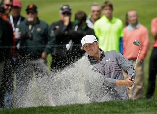Jordan Spieth hits out of a bunker to the second green of TPC Harding Park during round-robin play against Mikko Ilonen, of Finland, at the Match Play Championship golf tournament Wednesday, April 29, 2015, in San Francisco.