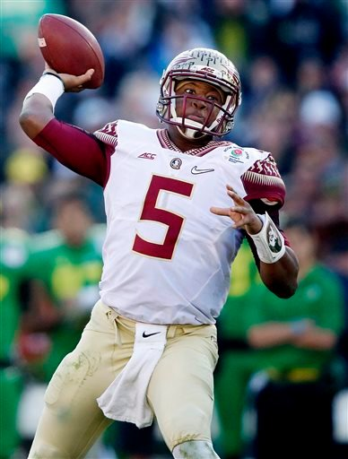 In this Jan. 1, 2015, file photo, Florida State quarterback Jameis Winston (5) throws a pass while facing Oregon in the Rose Bowl NCAA college football playoff semifinal in Pasadena, Calif.