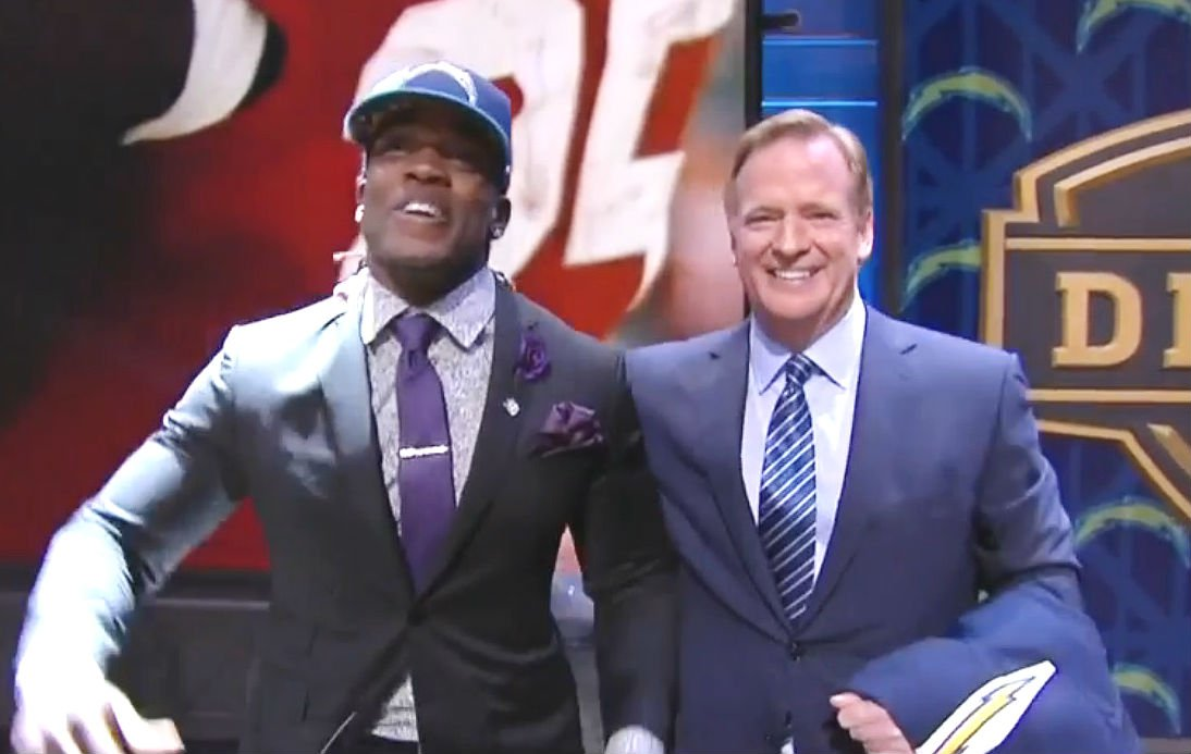Melvin Gordon (left) poses with NFL commissioner Roger Goodell after being selected by the Chargers in the NFL Draft.