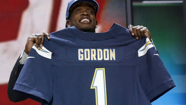 Wisconsin running back Melvin Gordon poses for photos after being selected by the Chargers as the 15th pick in the first round of the 2015 NFL Draft.