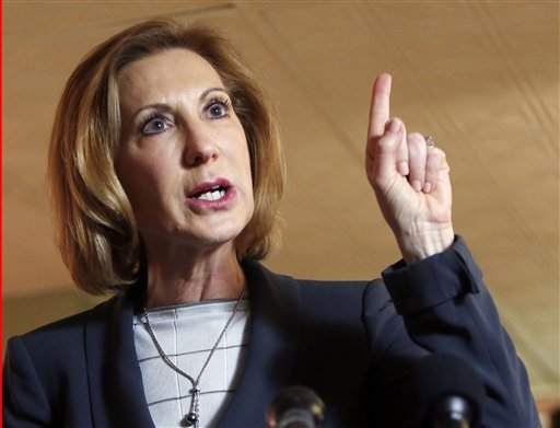 In this April 28, 2015 file photo, former Hewlett-Packard CEO Carly Fiorina speaks during a business luncheon at the Barley House with New Hampshire Republican lawmakers, in Concord, N.H. Former technology executive Carly Fiorina formally entered the 2016